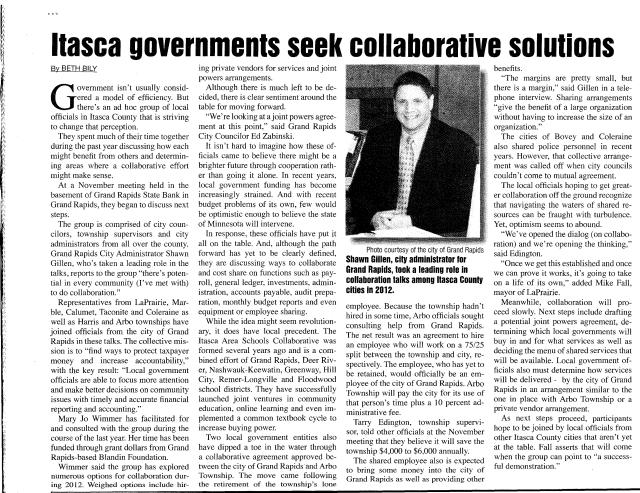 Itasca governments seek collaberation